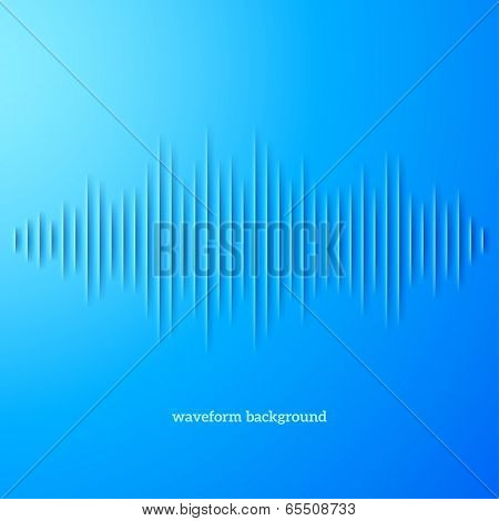 Paper cut blue sound waveform sign with shadow poster