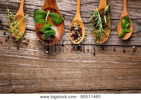herbs and spice on wooden table