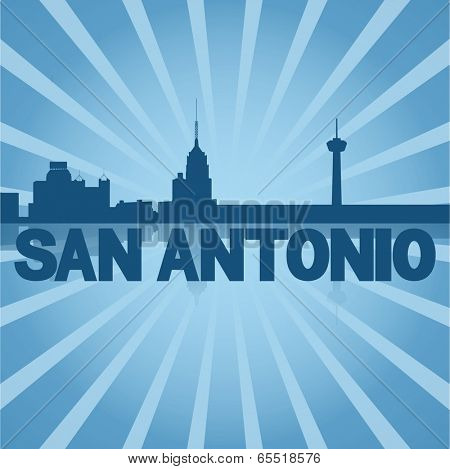 San Antonio skyline reflected with blue sunburst vector illustration