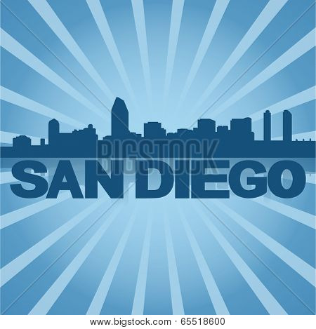 San Diego skyline reflected with blue sunburst vector illustration