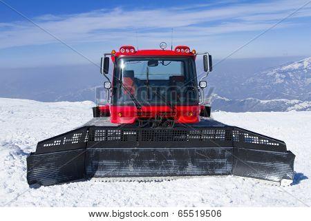 Snowcat, machine for snow removal, preparation ski trails poster