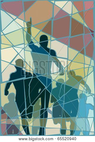 Editable vector colorful mosaic illustration of a man celebrating winning a race