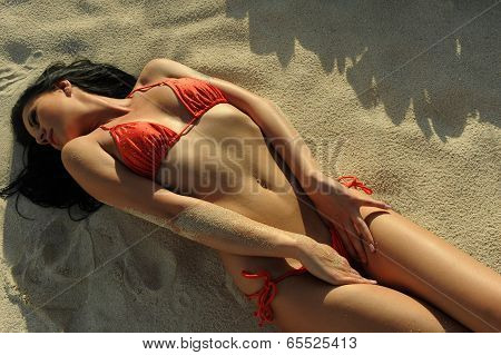 Young brunette in red bikini posing sexy at tropical beach poster