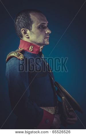 Officer,  general of the Spanish army, blue coat and gold epaulettes