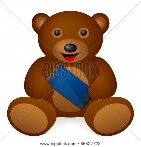 Teddy bear smartphone on a white background. Vector illustration. poster