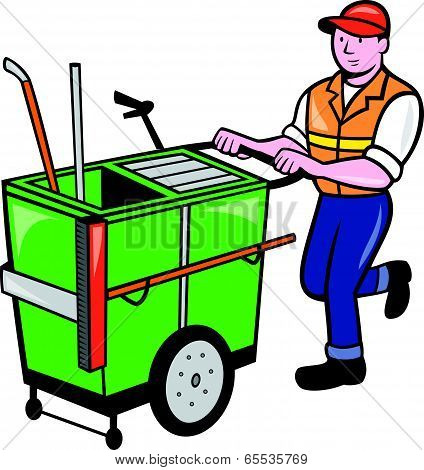 Streeet Cleaner Pushing Trolley Cartoon Isolated