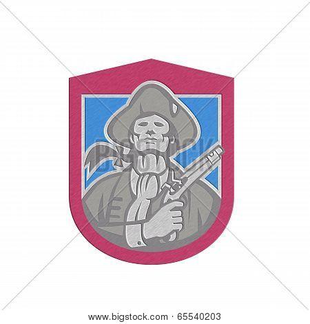 Metallic American Patriot With Flintlock Shield Retro