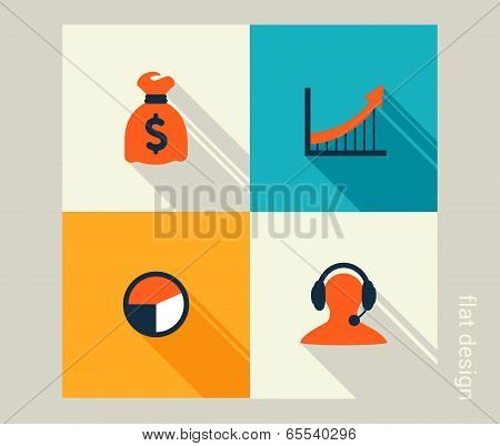 Business icon set. Management human resources marketing e-commerce solutions. Flat design poster