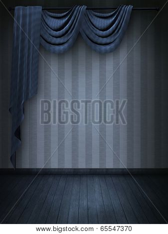 Photomanipulation of a blue vintage room with curtains
