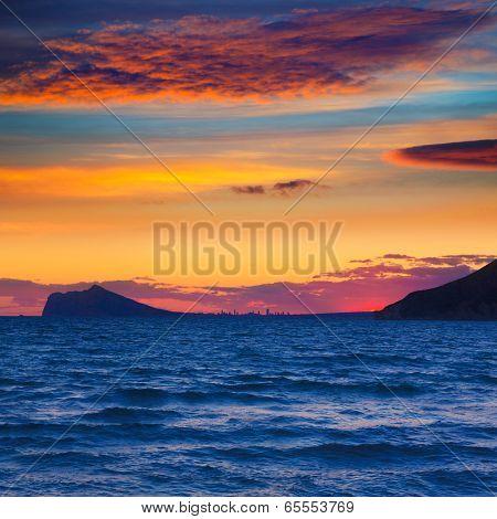 Benidorm sunset skyline view from Calpe Alicante in Mediterranean Spain