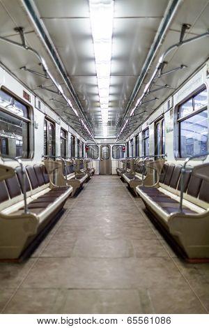Interior empty Moscow subway car