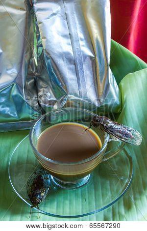 Percolator  And Coffee With Cicada