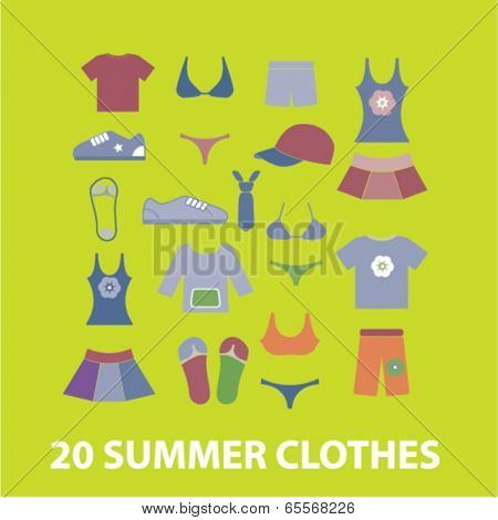 20 summer clothes icons set, vector