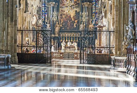 Catholic Procession In St Stephan's Dome In Vienna