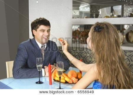 A Pair Of Lovers At Restaurant