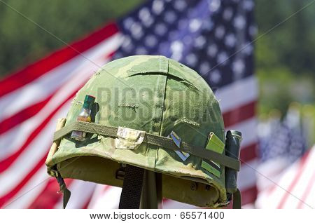 Flags And Helmet