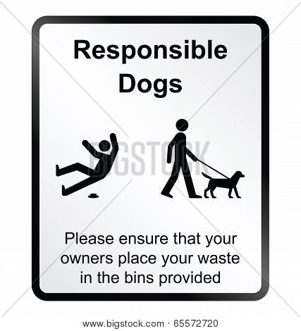 poster of Monochrome comical responsible dog waste public information sign isolated on white background