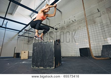 Fit young woman box jumping at a style gym. Female athlete is performing box jumps at gym. ** Note: Shallow depth of field ** Note: Visible grain at 100%, best at smaller sizes poster