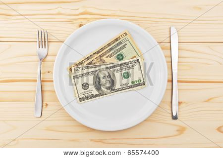 Usa Dollars Served On Plate As Dinner