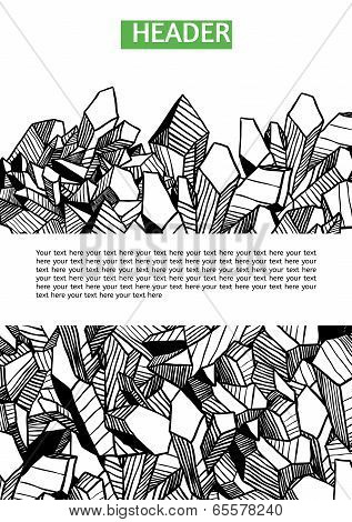 Black, white and green vector template for your design with crystals