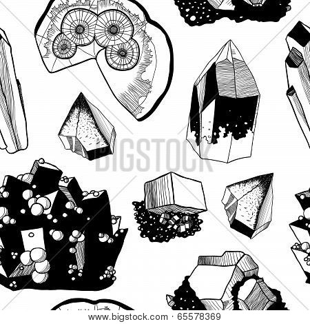 Seamless vector pattern with minerals, black and white