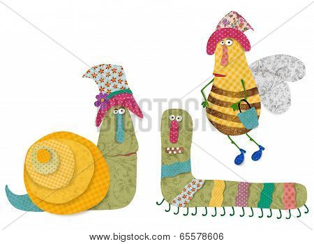 Snail, worm and bee
