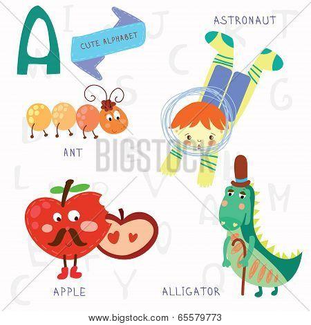 Very Cute Alphabet.a Letter. Ant, Astronaut, Apple, Alligator.