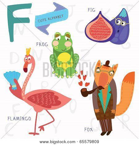 Very Cute Alphabet.f Letter. Flamingos, Figs, Fox, Frog.