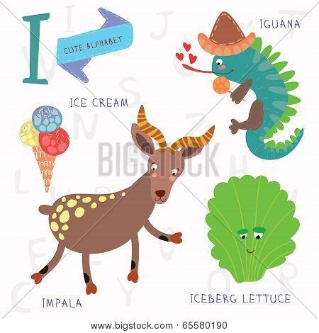 Very Cute Alphabet.i Letter. Iceberg Lettuce, Iguana, Ice Cream, Impala.