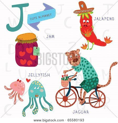 Very Cute Alphabet. J Letter. Jam, Jalapeno, Jellyfish, Jaguar
