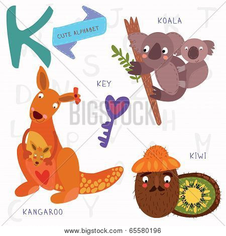 Very Cute Alphabet.k Letter. Kangaroo, Koala, Kiwi,key.