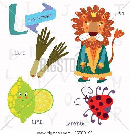 Very Cute Alphabet.l Letter.leeks, Lion, Ladybug, Lime.