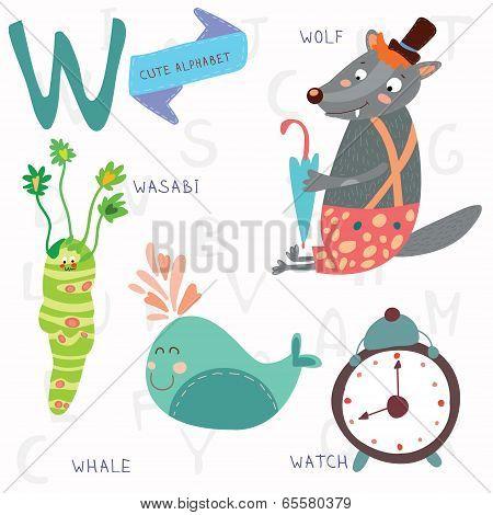 Very Cute Alphabet.w Letter. Wolf, Wasabi, Whale,watch.