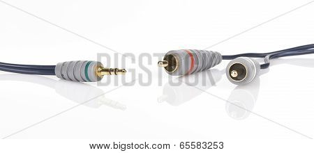 Jack And Mini-jack Plug Sound Or Tv Glossy Wire Isolated On White