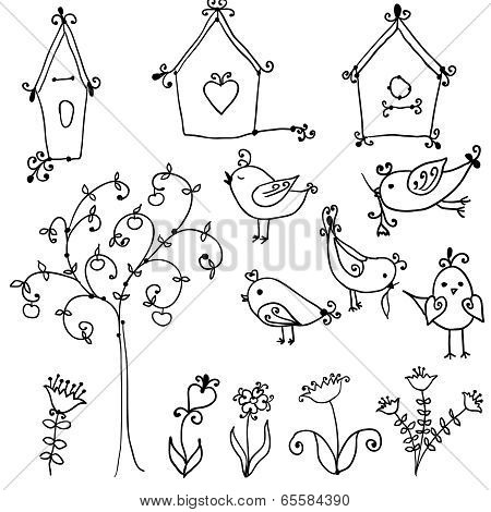 set of cutebirds, tree and and bird's nesting boxes