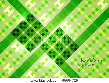 Vector of Hari Raya Ketupat for Muslim celebration. Translation: Ramadan Kareem - May Generosity Bless You During The Holy Month.