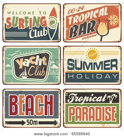 Summer holiday retro signs collection