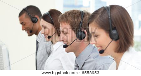 Serious Co-workers In A Call Center