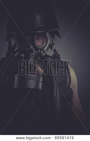 Toxic nuclear and toxicological disaster ,man with gas mask