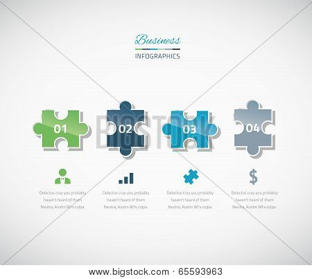 Infographic puzzle piece business vector illustration options