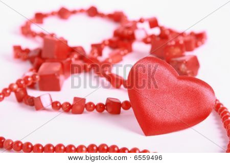 Heart And Beads On White