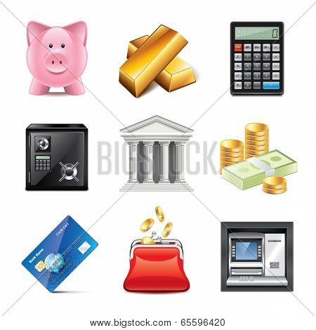 Banking Icons Photo-realistic Vector Set