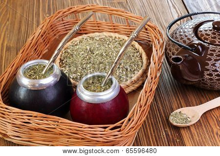 Yerba mate and mate in calabash on a wicker tray on a wooden background poster
