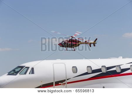 Indianapolis, IN - May 25, 2014:  NASCAR driver, Kurt Busch, lands at Indianapolis Airport and climbs on board his Cessna Citation X and travels to Concord NC to run the Coca-Cola 600 NASCAR race.