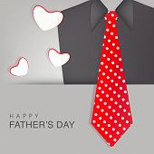 Happy Father's Day celebrations greeting card design with necktie and suit on grey background. poster