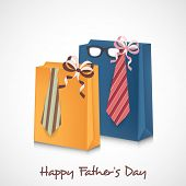 Happy Father's Day celebrations concept with colourful shopping bags and necktie wrapped by ribbon. poster