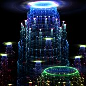 Beautiful mysterious fractal city. Computer generated graphics. poster