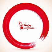 Red paintbrush textured acrylic circle vector frame poster