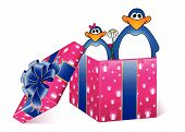 beautiful gift with a large bow and penguins on a white background for christmas poster