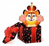 sign 2010 is a beautiful little tiger in a crown on a white background poster